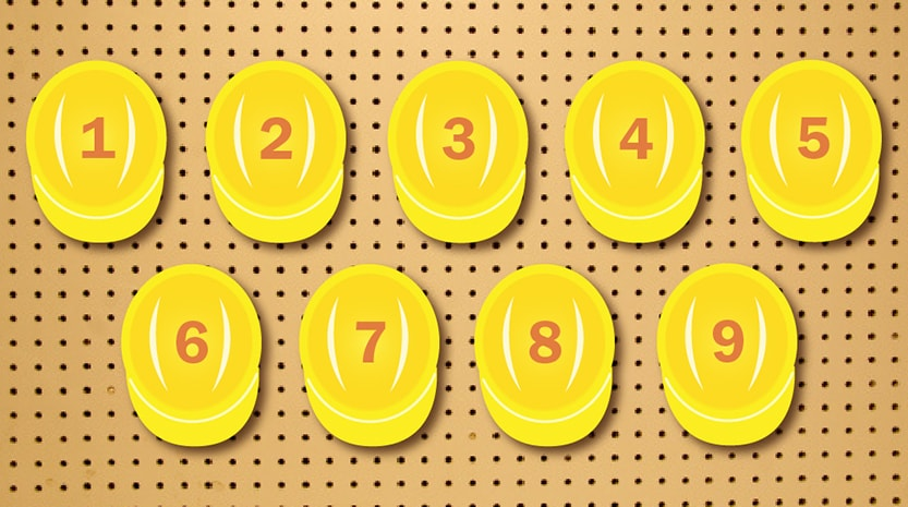 Graphic of nine yellow hardhats hanging from a wall numbered 1-9.